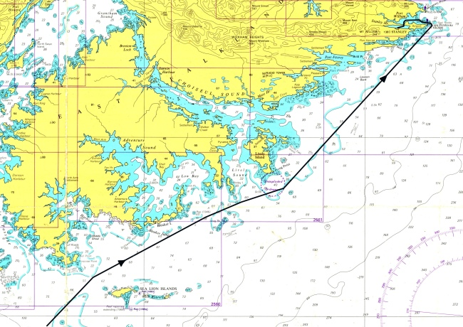 Carta1 - Acercamiento a  Port Stanley (Puerto Argentino) desde el Sudeste.