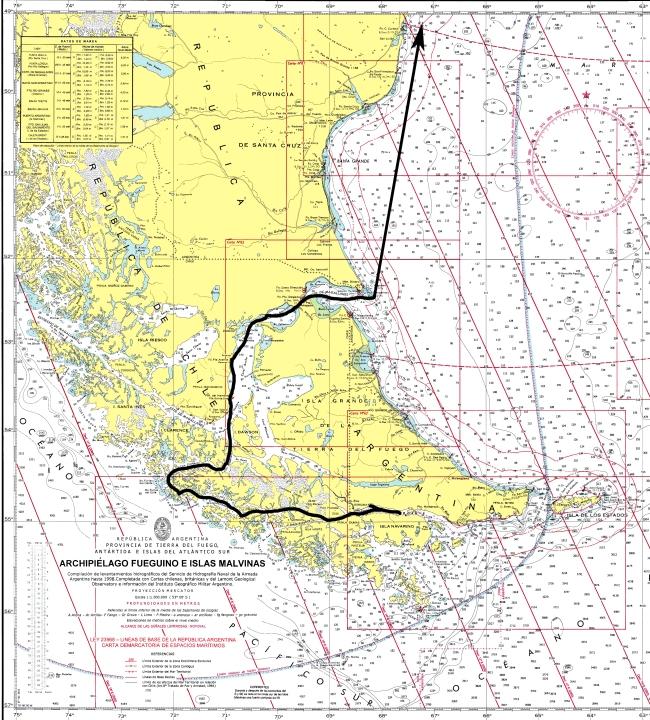 Derrota por Canales Fueguinos y Estrecho de Magallanes
