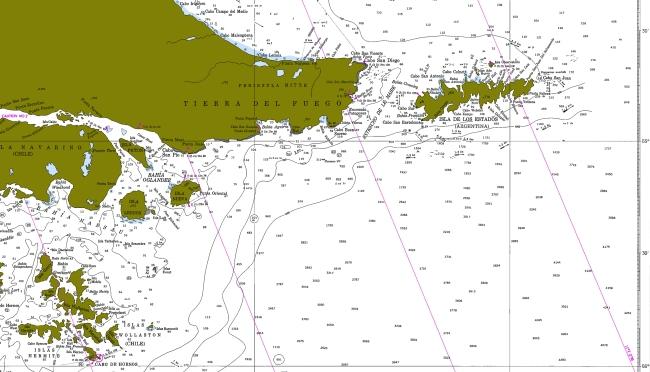 Fig. 1 - Sudeste de Tierra del Fuego, Isla de los Estados y Cabo de Hornos