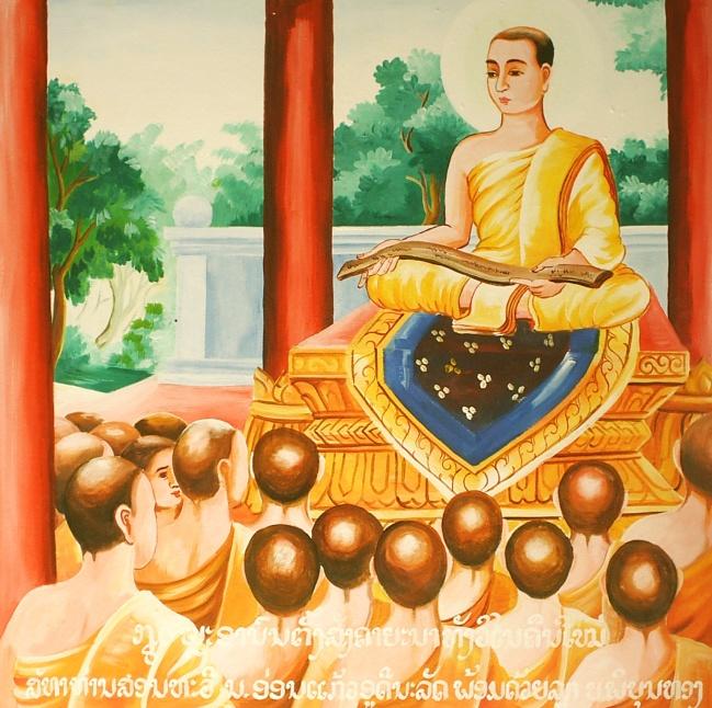 Venerable Ananda, en el primer concilio - recitando el Sutta Pitaka