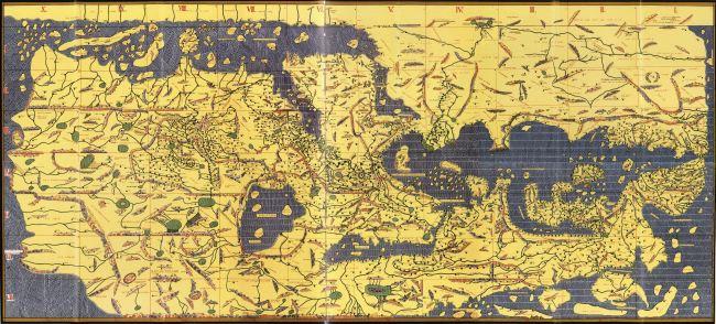 1154 Al-Idrisi - Tabula Rogeriana, con el Sur en la parte superior