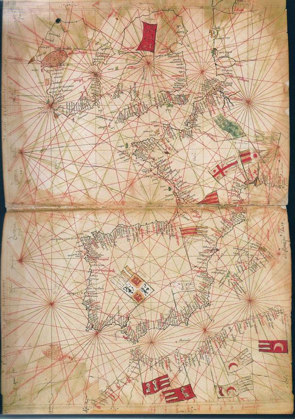 1325 Anónimo (Taller Pietro Vesconte) - Carta Portulana de Europa Occidental y Norte de Africa