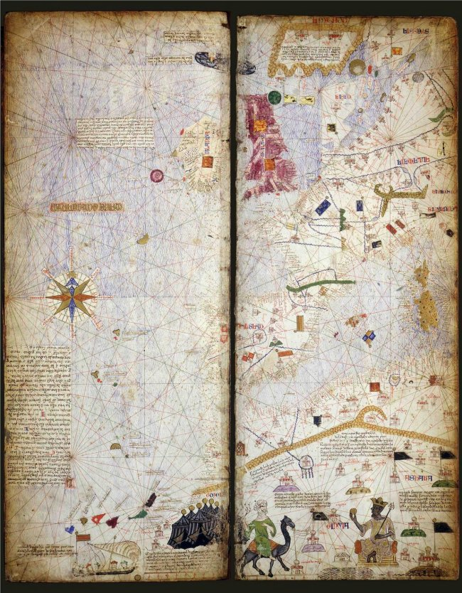 1375 Cresques, Abraham  - Carta Portulana de Europa Occidental