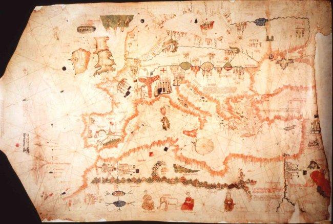 1480 De Chanepa, Albinus - Carta Portolana de Europa y Norte de Africa