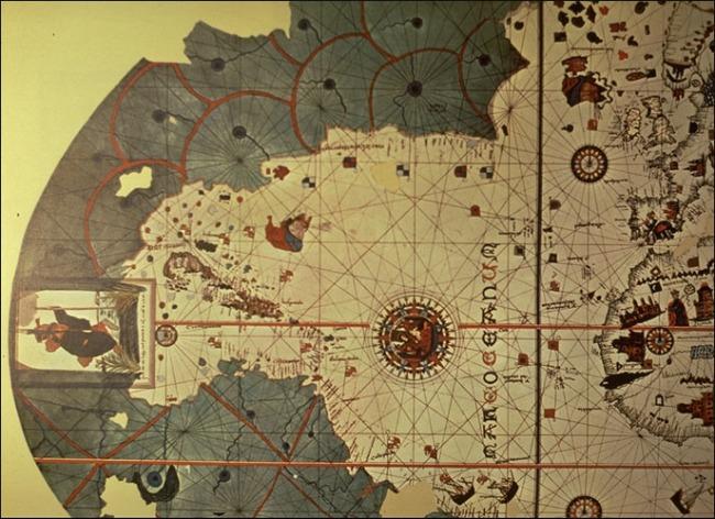 1500 Juan de la Cosa - Detalle de la Carta Portolana del Mundo, Hemisferio Occidental después de 2do Viaje de Colón