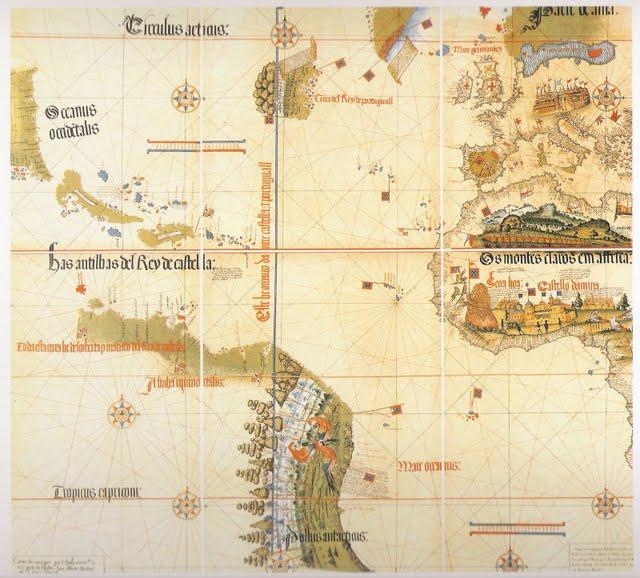 1502 Cantino, Alberto - Detalle del Mappa Mundi, Terranova, Indias Occidentales, Sudamerica, Europa, Africa