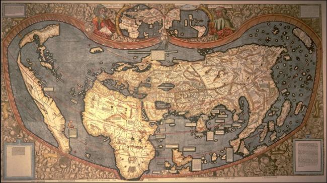 1507 Waldseemüller, Martin - Mappa Mundi Ptolemaico incorporando por 1ra vez el nombre America para el Nuevo Mundo