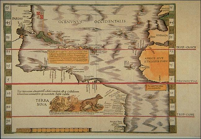 1513 Waldseemüller, Martin - Tabula Terra Nova, Oceanunus Occidentalis