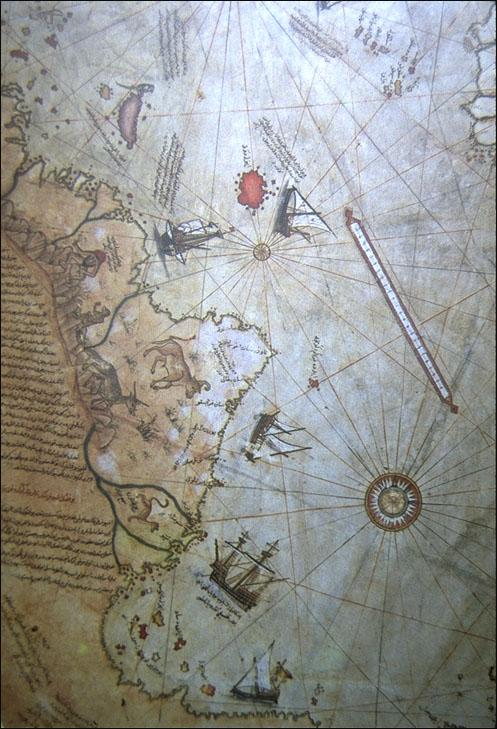 1517 Reis, Piri - Detalle del Nuevo Mundo