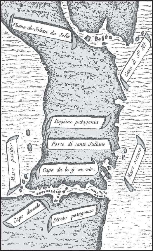 1520 Pigafetta, Antonio - Patagonia y el Estrecho de Magallanes (Streto Patagonico) originalmente con el sur en la parte superior