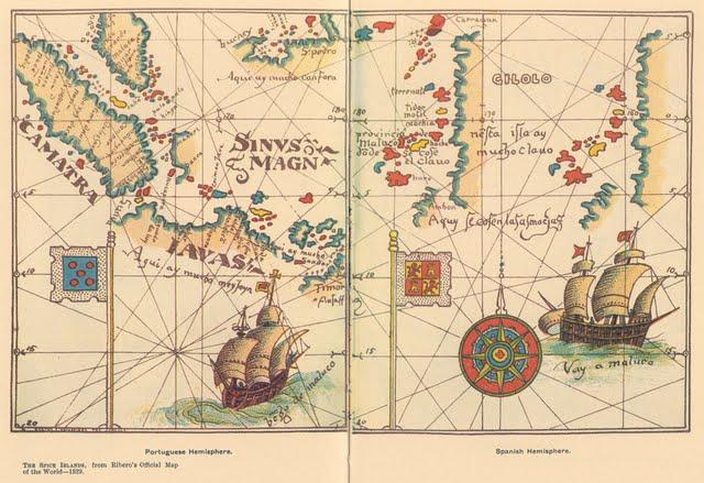 1529 Diego Ribero - Delimitación de las zonas de influencia portuguesa y la española en Tordesillas. Islas Molucas (de las Especias) en territorio español