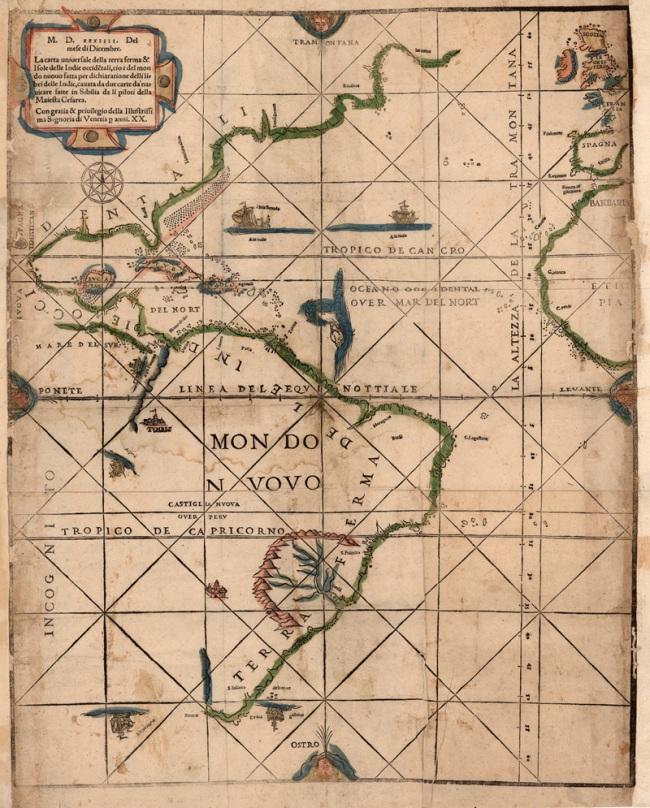 1534. Ramusio, Giovanni Battista - Carta universal de la tierra firme y de las islas de la India occidental
