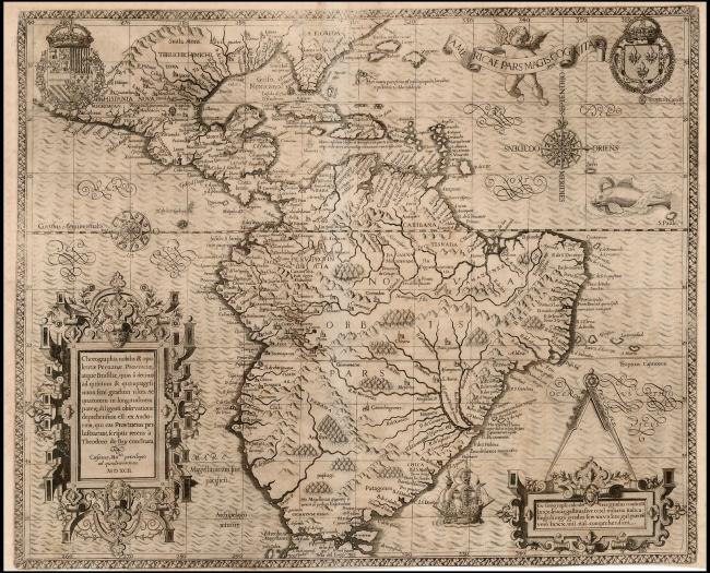 1592 De Bry - Americae Pars Magis Cognita Chorographia nobilis & opulentae Peruvanae Provinciae, atque Brasiliae… MDXCII