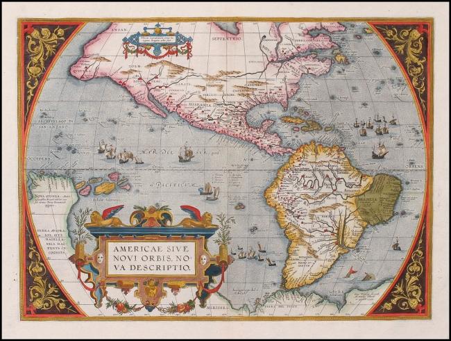 1595 Ortelius, Abraham - Americae Sive Novi Orbis Nova Descriptio