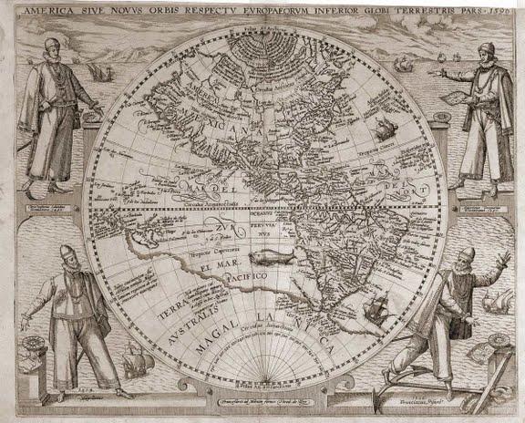 1596 Theodore de Bry - America Sive Novus Orbis Respectu Europa Forum Inferior Globe Terrestris