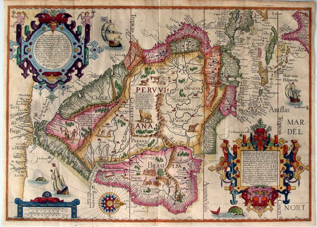 1596 van Linschoten, Jan Huygen - Mapa horizontal de Suramérica