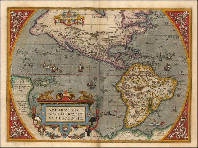1612 Ortelius - Americae Sive Novi Orbis Nova Descriptio