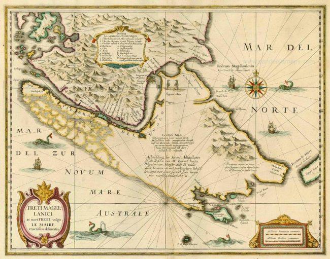 1630 Janssonius, Joan - Freti Magellanici ac Novi Freti vulgo Le Maire exactissima delineatio