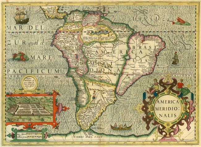 1630 Mercator Hondius - America Meridionalis
