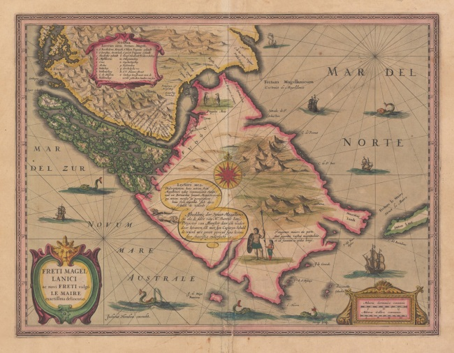 1638 Hondius, Joducus - Freti Magelanici ac novi Freti vulgo le Maire exactissima delineatio
