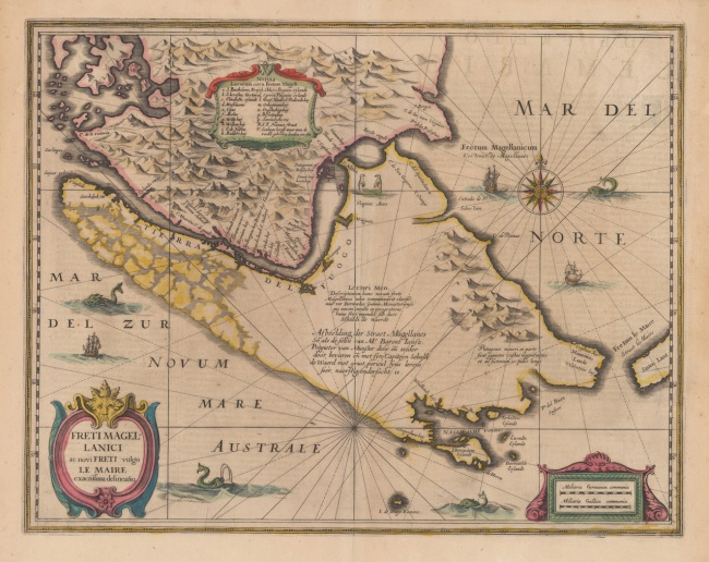 1638 Jansonnius, Joan  &  Hondius, Hendric - Freti Magellanici ac novi Freti vulgo Le Maire exactissima delineatio