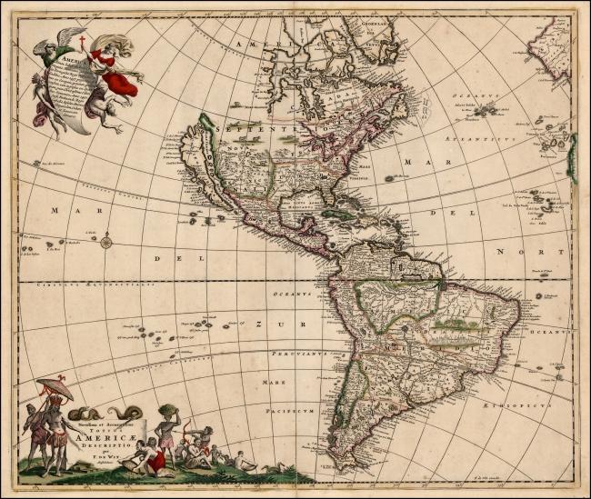 1680 De Wit, Frederick - Novissima et Accuratissima Totius Americae Descriptio
