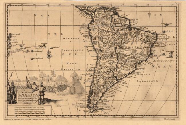1706 Van der Aa, Pieter - Zuider America van Terra Firnia en Gujana voorbij Rio de la Plata, tot aan de Straat Magellaan, en kusten tegen de Zuidzee