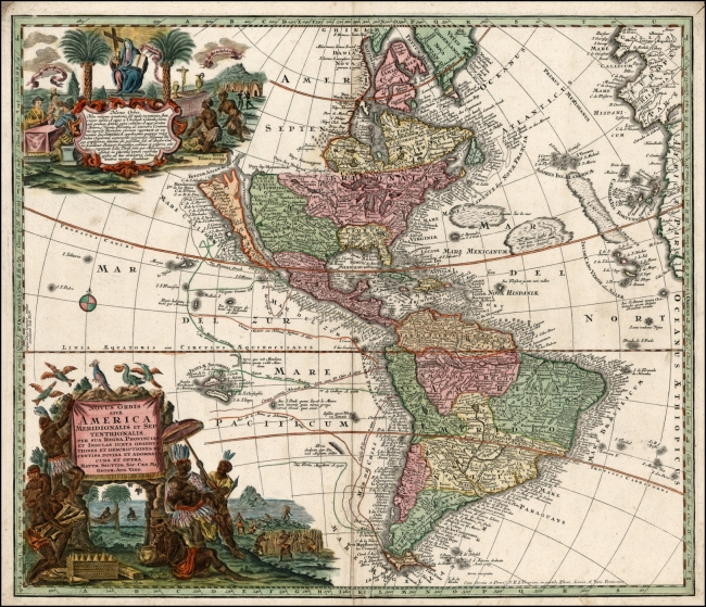1730 Seutter, Matthaus - Novus Orbis Sive America Meridionalis et Septentrionalis