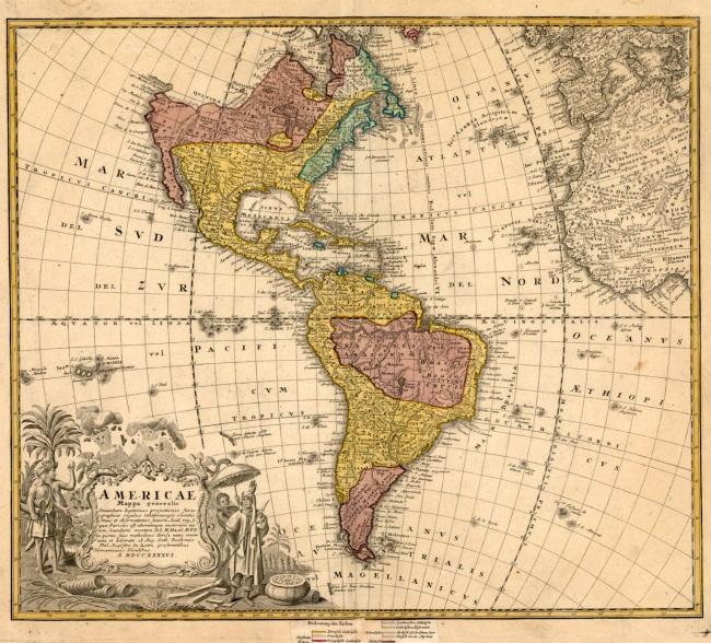 1746 Heirs, Homann & Haas, Johann Matthaus - Americae Mappa generalis Secundum legimitas projectionis Stereiographiae regulas