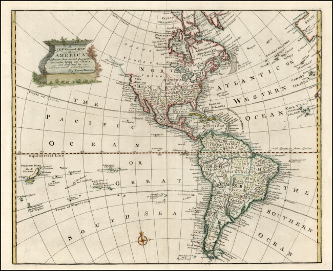 1747 Bowen, Emanuel - A New General Map of America. Drawn from several Accurate particular Maps & Charts
