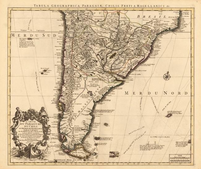 1755 Covens, I. & Mortier, Cornelius - Tabula Geographica Paragaiae, Chilis, Freti a Magellanici