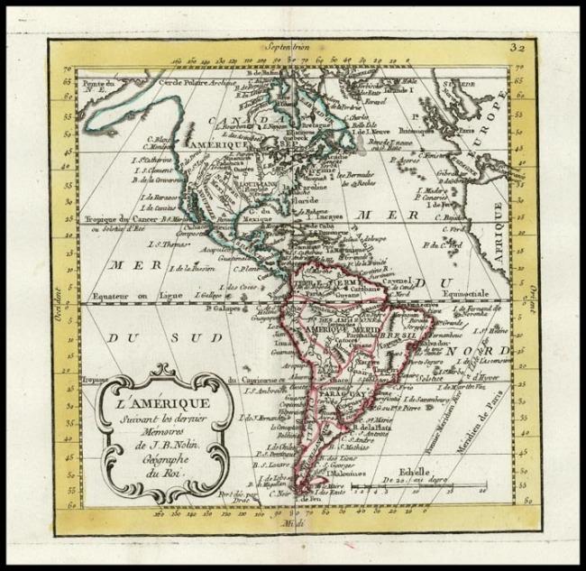 1755 Nolin, Jean Baptiste - L' Amerique Suivant les dernier Memoires de J.B. Nolin