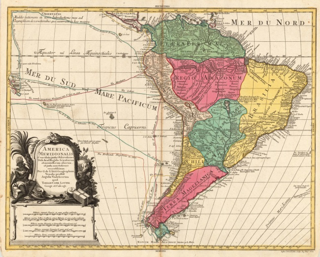 1760 Lotter, Tobias - America Meridionalis Concinata juxta Observationes Dnn. Acad Regalis Scientiarum et nonnullorum aliorum, et juxta annotationes recentissimas, per G. de L'Isles, Geographun