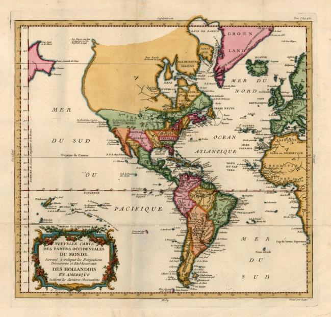 1787 Genty, Louis  - Nouvelle Carte des Parties Occidentales du Monde Servant a Indiquer les Navigations Decouvertes et Etablissements des Hollandois en Amerique