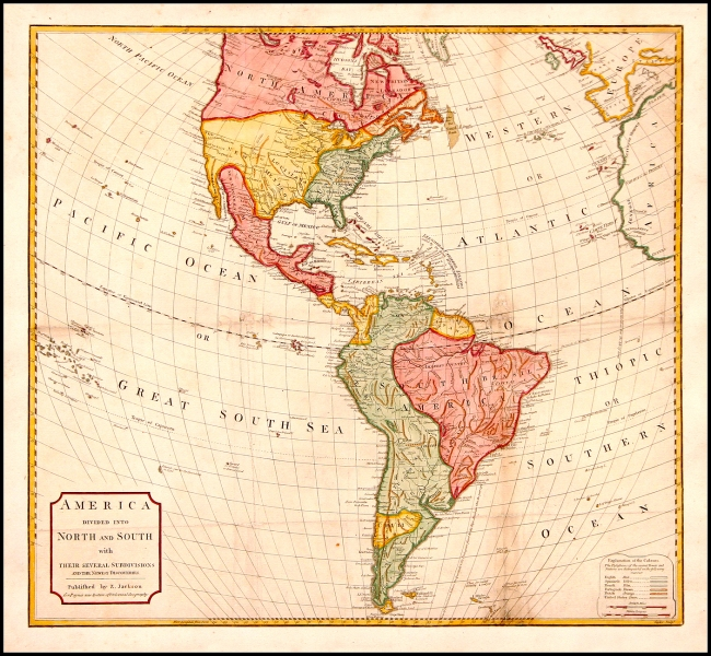 1795 Jackson, Z. - America Divided Into North and South with Their Several Subdivisions and the Newest Discoveries