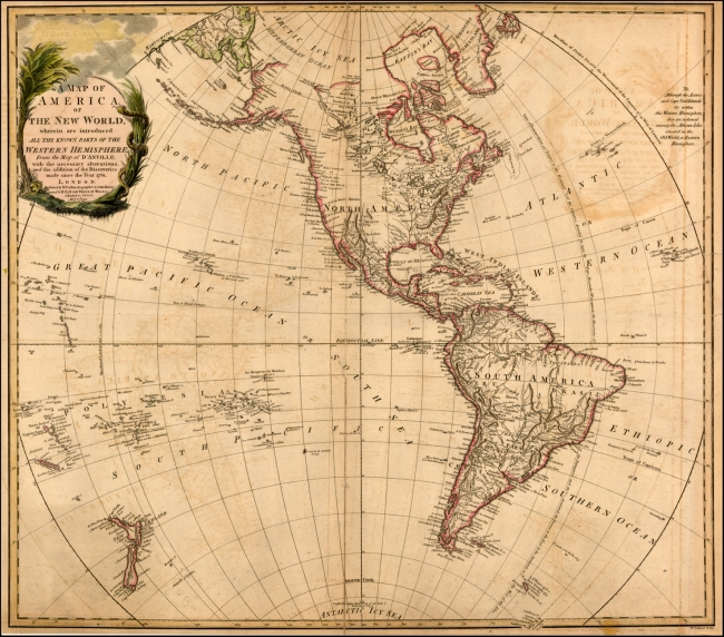 1797 Faden, William - A Map of America or The New World wherein are introduced All The Known Parts of the Western Hemisphere