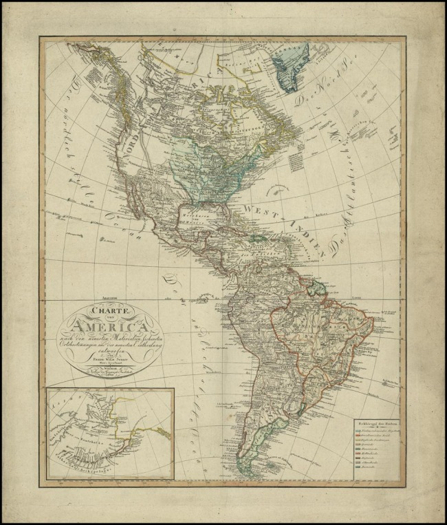 1810 Steit, Freidreich Wilhem - Charte von America nach den neuesten Materialien Lichersten Ortsbestimungen und der neuesten Eintheilung