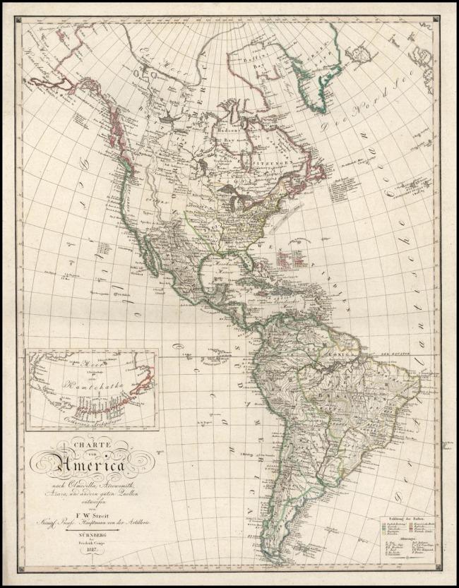 1817 Streit, F.W. & Campe, Freidrich - Charte von America nach Olmedilla, Arrowsmith, Azara und andern guten Quellen