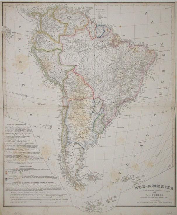 1851 Koehler, A.H. - Sued-Amerika - nach den neuesten Quellen entworfen von A. H. Koehler, Oberlieutnant im Koenigl. Saechsn. Ingenieur -Corps. - Leipzig