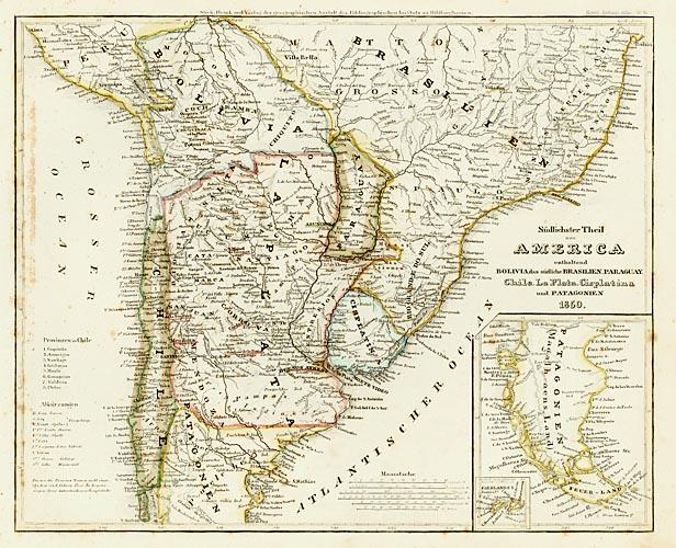 1852 Meyer, Joseph - Sudlichster Theil von America enthaltend Bolivia das sudliche Brasilien, Paraguay, Chile, La Plata, Cisplatina, und Patagonien