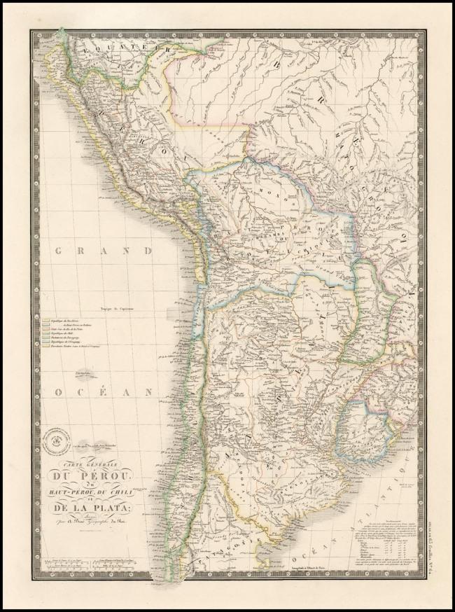 1857 Brue, Adolph Hippolite - Carte Generale Du Perou du Haut-Perou, Du Chili et De La Plata