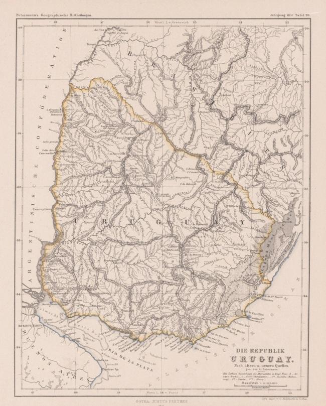 1857 Petermann, A. - Die Republik Uruguay. Nach aeltern u. neuern Quellen