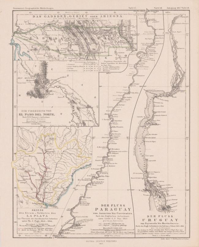 1857 Petermann, A. - Skizze des StromGebietes des La Plata, nach Th. J. Page, 1853-1856. - Der Fluss Paraguay nach Lieutt. G. F. Day, Der Fluss Uruguay Sulivan u. Sidney
