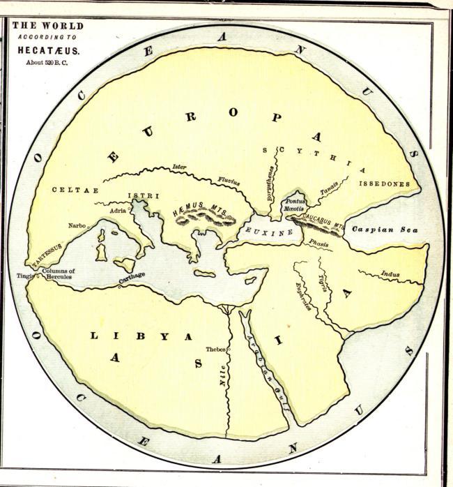 520 AC - Reconstrucción del Mappa de Hecataeus di Miletus